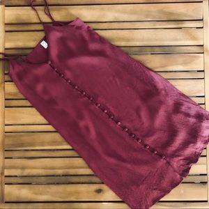 BP button front cami dress burgundy
